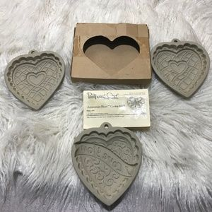 3 Vintage Pampered Chef heart shape cookie molds